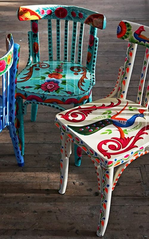 Old chairs painted bold colors