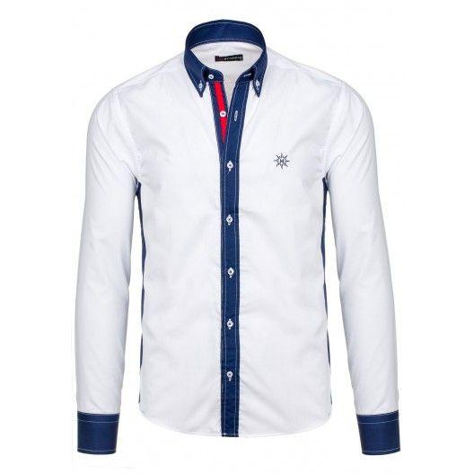 Pánska biela košeľa s modrám lemovaním - fashionday.eu