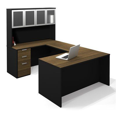 Bestar Pro-Concept U-Shaped Workstation with High Hutch
