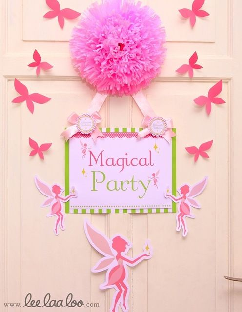 Great door display for birthday, shower, graduation, or anniversary. Cange the sign message and put different embellishments other than fairies