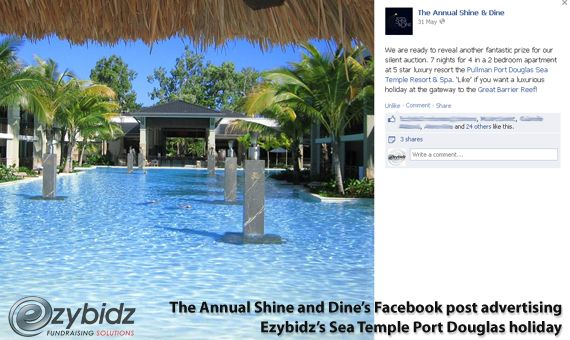 Ezybidz - Boosting Fundraising Auction Sales By Pre Event Advertising - The Annual Shine and Dine's Facebook post