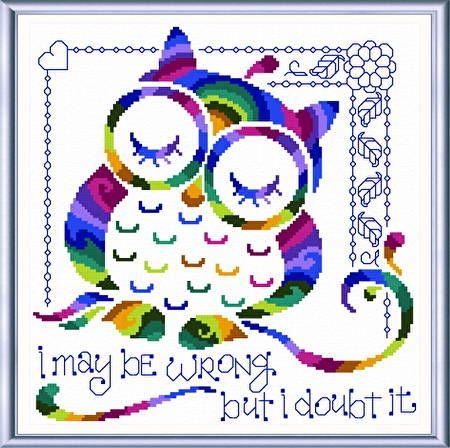 I Know Im Right cross stitch pattern designed by Ursula Michael.