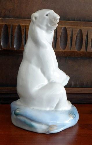 Soviet USSR Russian Lomonosov Porcelain Figurine Adorable Polar Bear Gzhel Fish   eBay