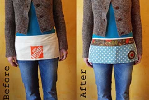 Turn a .75 cent tool apron from Home Depot into a craft apron, with a little bit of stitching and fabric glue.