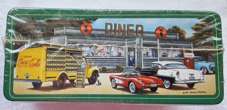 Coca-Cola 1991 Colorful Retro Tin Diner, Airport and Smiths Grocery, Sealed #CocaCola