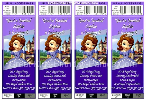 FREE Sofia the First Invitations - Make these lovely ticket invitations for your Sofia the First party. They are easy and fun to make and absolutely free!