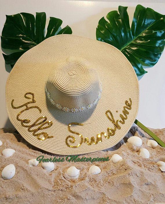 Custom Hello Sunshine Floppy Sun Beach Hat by prettythings1029 ... 04f64caf46c