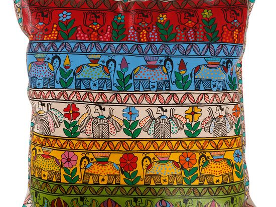 This cushion is an art piece on your couch. One single piece can do the magic.  Completely hand painted in Madhubani art on canvas. Madhubani, painting is a folk painting of Bihar, northern India. It is mostly practiced by women in the villages who have passed this art to their daughters through multiple generations. They paint pictures of nature and mythology to depict different events like birth, marriage, and cycles of life. #cushion_cover #handpainted_pillow #colorfull #india