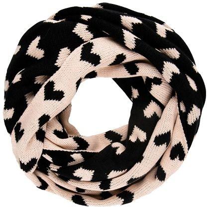 Niedlicher Schlauchschal mit Muster ab 16,95€ ♥ Hier kaufen: http://stylefru.it/s927774 #Schal #Herzchen #Muster