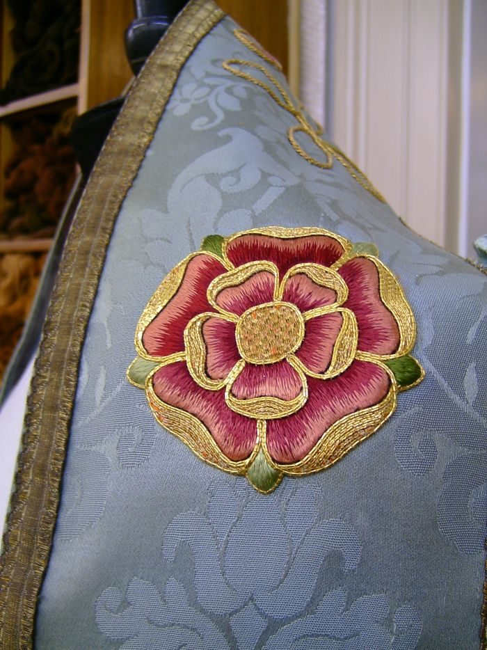 Salisbury Cathedral vestments: Restoration of the embroidered motifs on the Carpenter Cope. Work of the Royal School of Needlework in London.