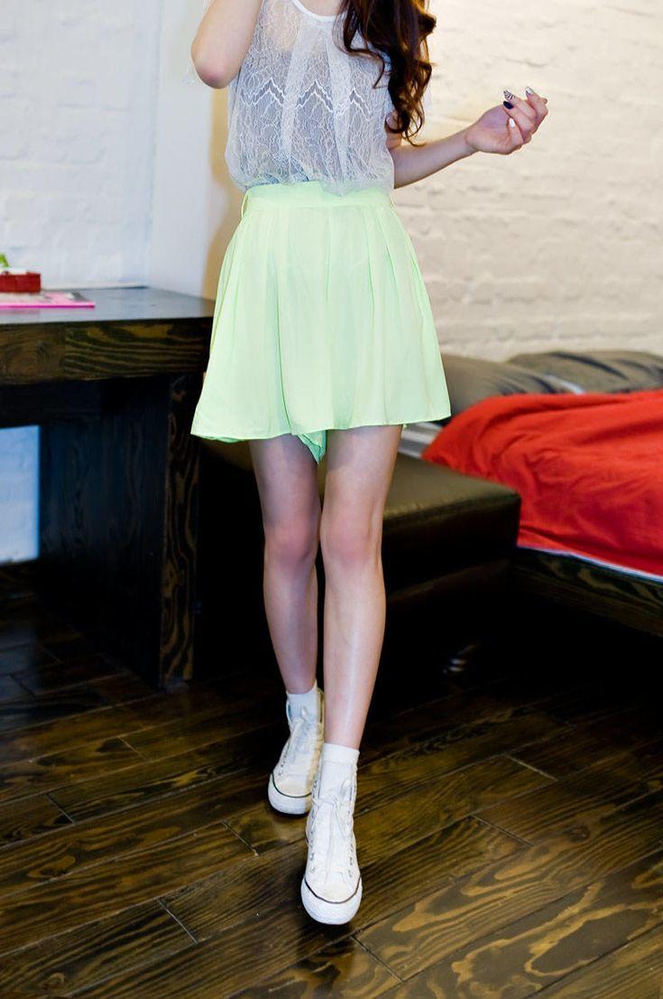 neon colored flare skirt pants from Kakuu Basic. Saved to Kakuu Basic Pants. Shop more products from Kakuu Basic on Wanelo.