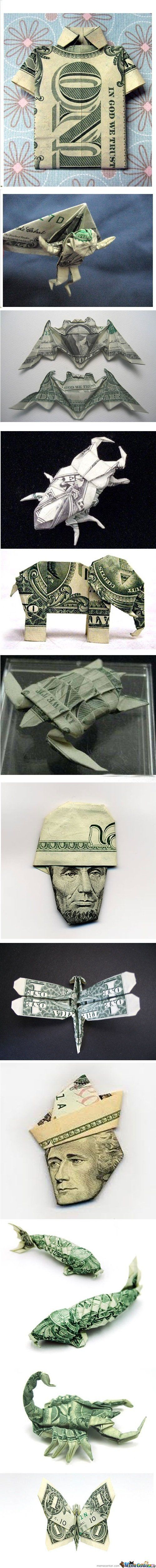 Creative ways to fold money when giving it as a gift.