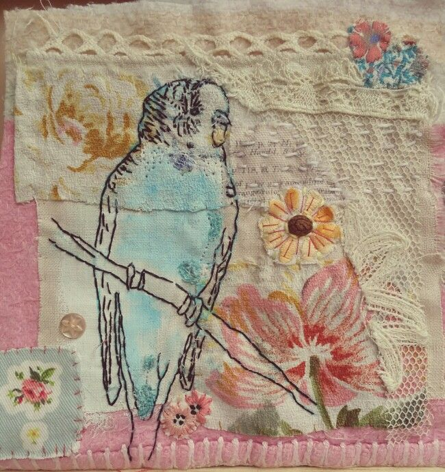 Emily Henson Blue Budgie vintage textile art. Reused and found fabrics. www.facebook.com/bibliboo