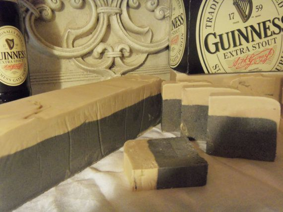 2 loaves of Beer Soap with Guinness . MAKES 20 to 24 bars at 4.oz each Great for party favors Made to look like a pint of Beer on Etsy, $64.99