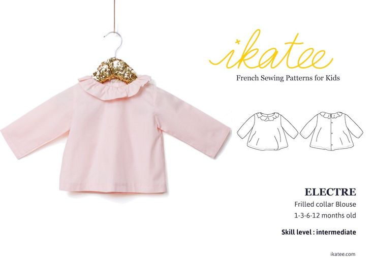 Sewing pattern & guidebook for NewbornGirl A refined garment for the newborn wardrobe Elegant and convenient A frilled collar atneckline withbinding