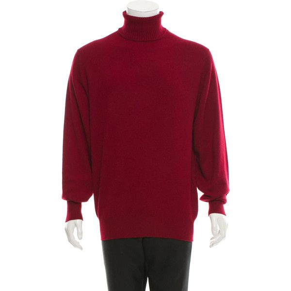 Pre-owned Herm?s Cashmere Turtleneck Sweater ($345) ❤ liked on Polyvore featuring men's fashion, men's clothing, men's sweaters, burgundy, men's polo neck sweaters, mens burgundy sweater, mens turtleneck sweater, mens turtleneck and mens cashmere turtleneck