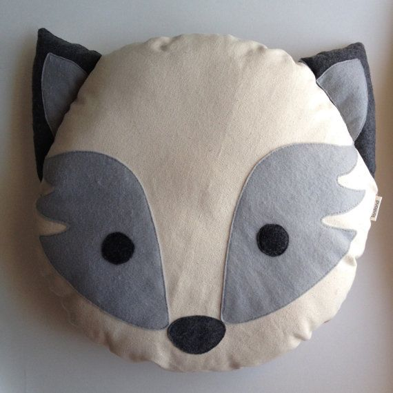 Grey Fox Animal Plush Pillow + Grey with Orange Fox back. Listing is for one pillow    18 diameter    Materials:    100% cotton canvas face and