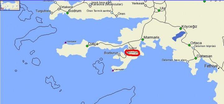 Selimiye Haritadaki Yeri
