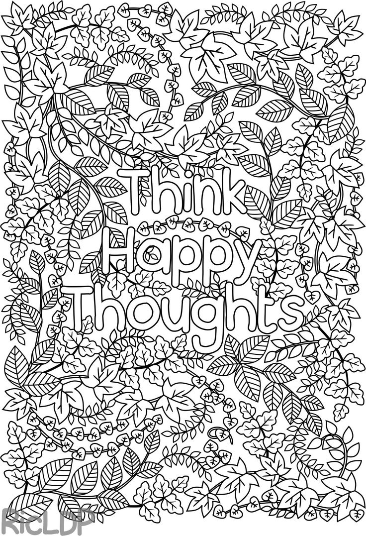 High quality coloring pages for adults - Think Happy Thoughts Coloring Page For Adults