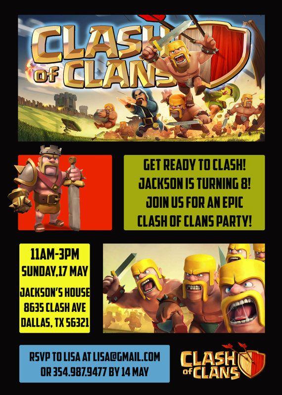 Clash of Clans Birthday Invitation Clash of by CoralPartyDecor