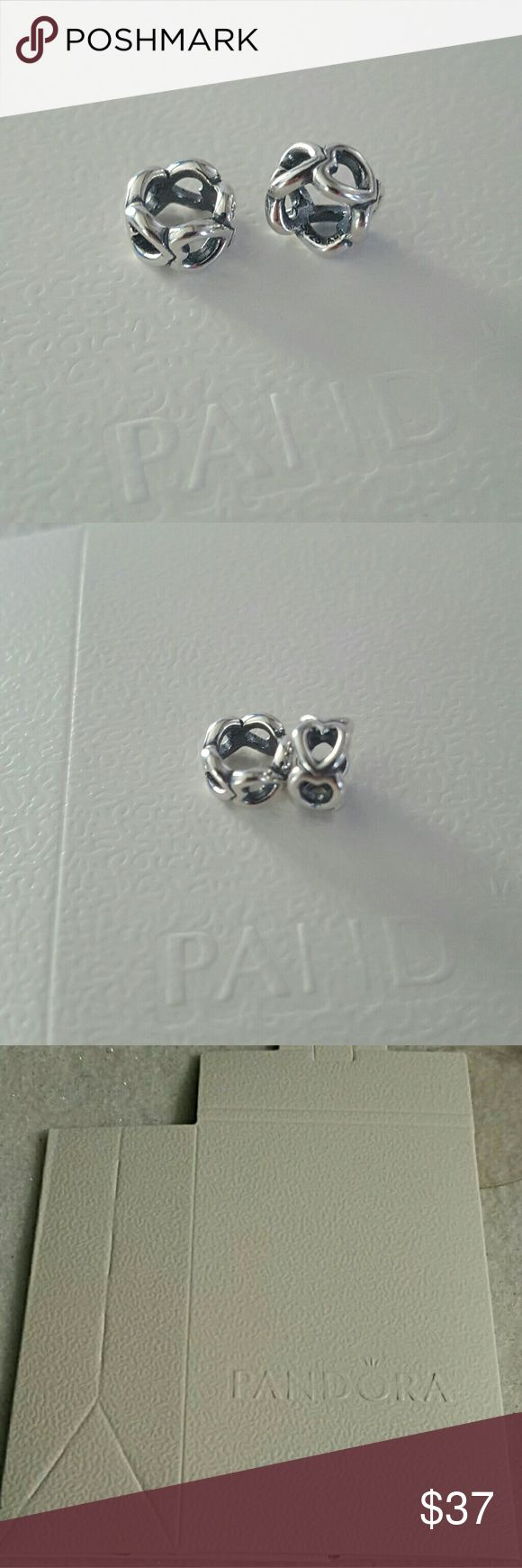 2pcs authentic pandora  open heart spacer 925 2pcs authentic pandora open heart spacer  925 steeling silver  stamped  Ale s925... Pandora Jewelry