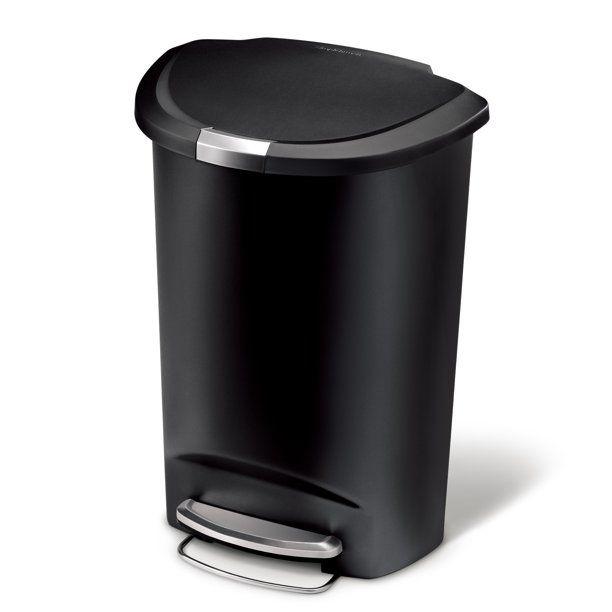 Simplehuman 50 Liter 13 Gallon Semi Round Plastic Step Trash Can Black Walmart Com In 2021 Kitchen Trash Cans Simplehuman Trash Can Simplehuman trash can 13 gallon