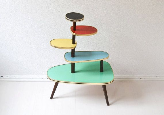 Vintage German flower table bench plant stand Mid Century modern wood candy colors formica 60s