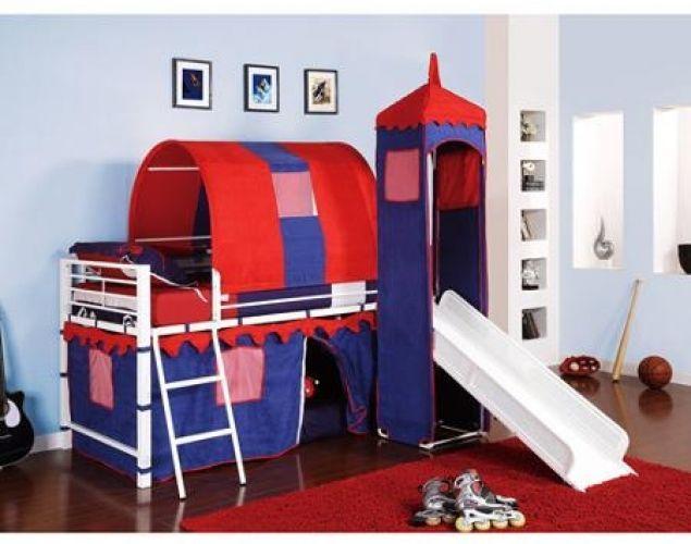 Castle Tent Loft Bed W/ Slide and Under Bed Storage, Blue #Castle