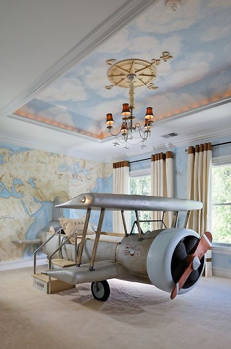 Aviation-Themed Kids' Bedroom - Using an airplane bed as her centerpiece, designer Dahlia Mahmood relied on creative design elements to create this eclectic kids' bedroom www.destination-baby.com