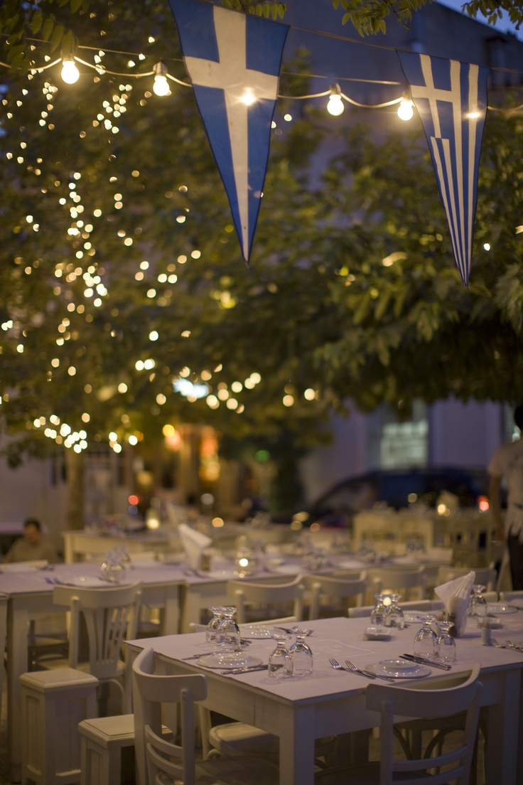 dining under the moonlight in central Athens