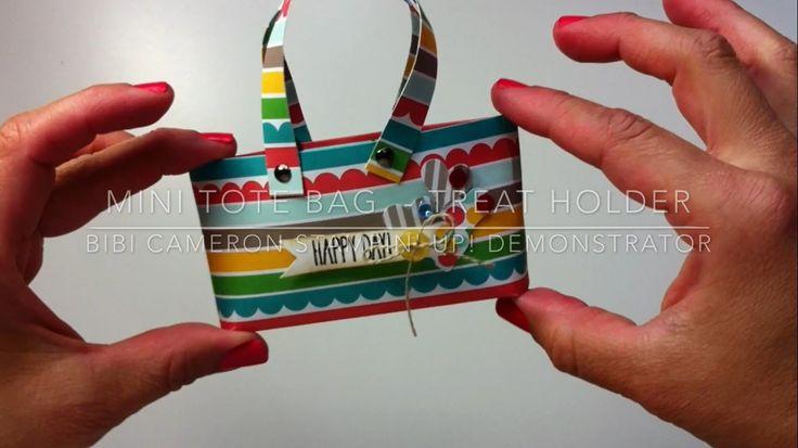 Easy paper tote bag - Stampin Up Cherry on Top designer series paper(par...