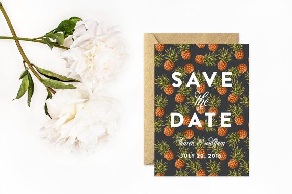 Save The Date, Vintage Pineapple Save the Date, Unique Save The Date