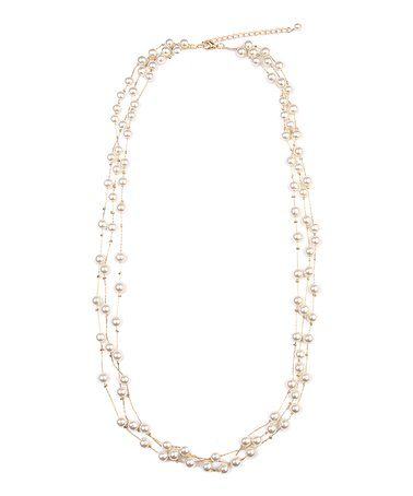 This Gold Faux Pearl Layered Necklace is perfect! #zulilyfinds