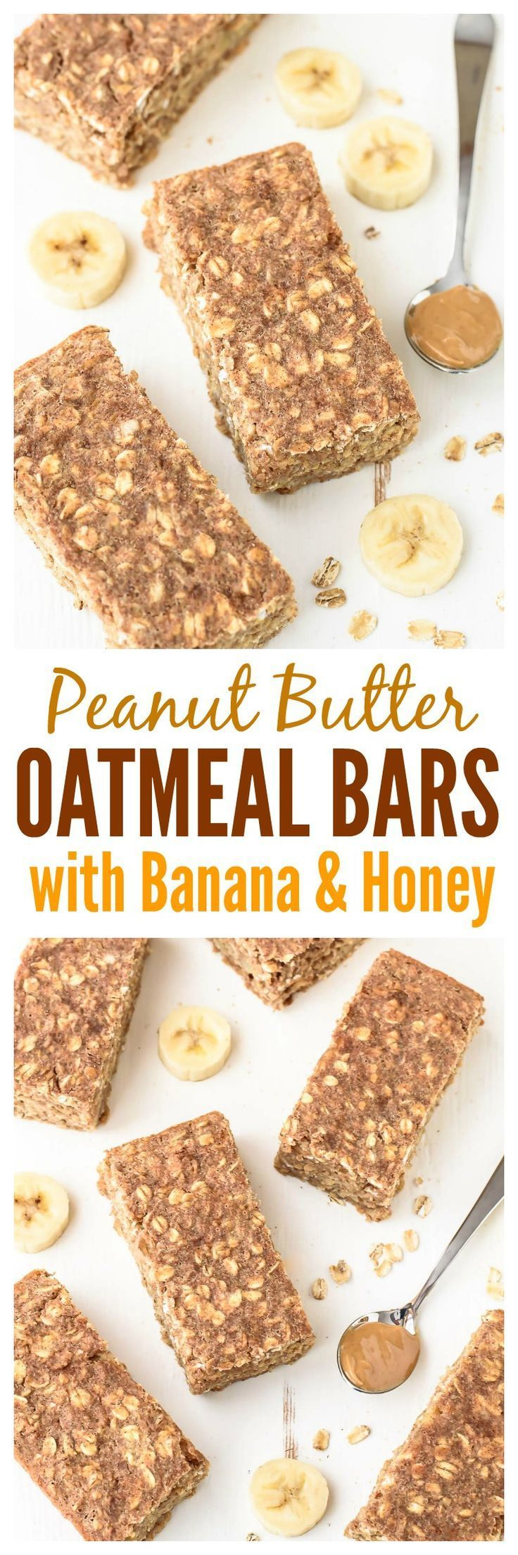 Peanut Butter Oatmeal Breakfast Bars with Banana a…