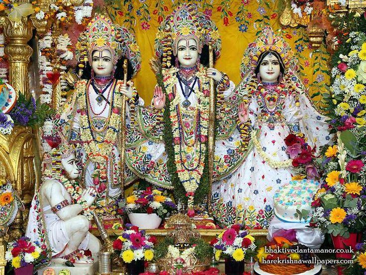 Sri Sri Sita Rama Laxman Hanuman Wallpaper   {Bhaktivedanta Manor} For more size visit http://harekrishnawallpapers.com