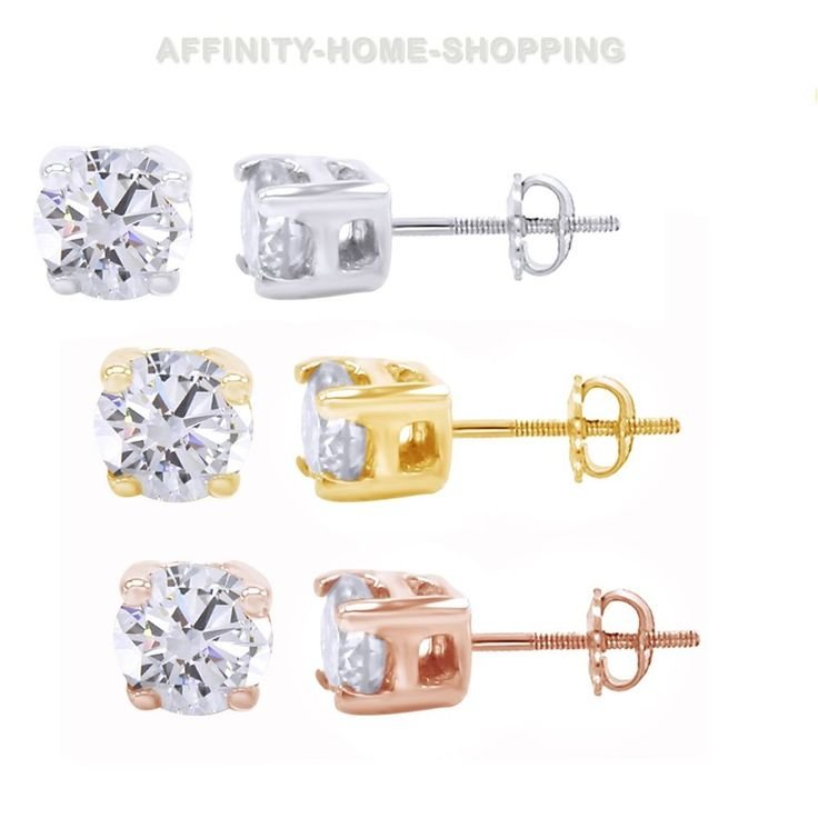 1/4 Ct Round Cut Greenish Diamond 14K White Gold Over Stud Earrings $999 #AffinityJewelry #Stud