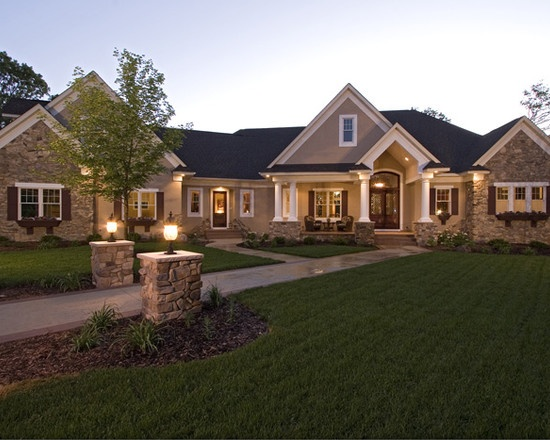 Traditional exterior ranch style design my next custom for Beautiful architecture houses