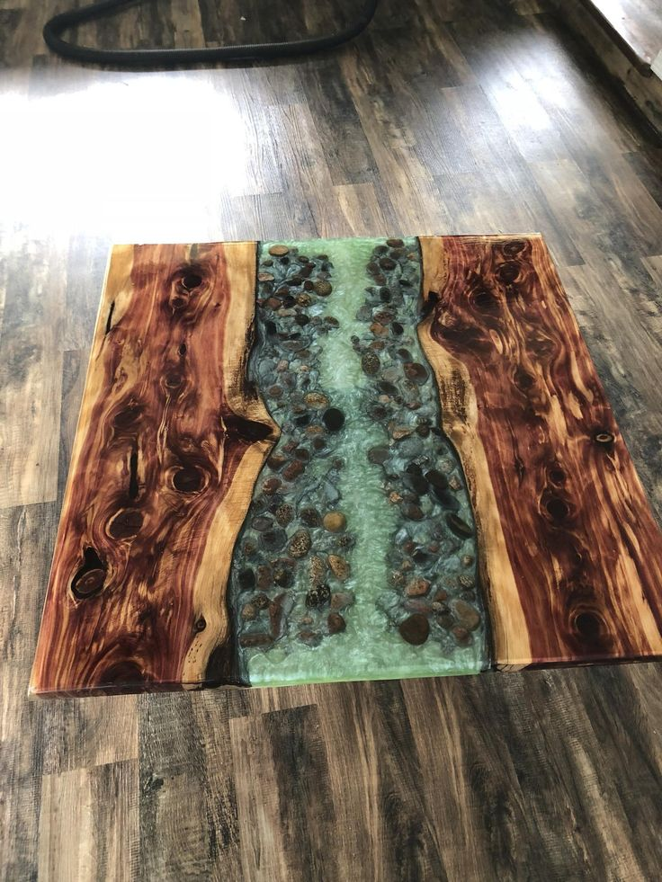 Gorgeous Live Edge Cedar River Table Resin Coffee Stone In