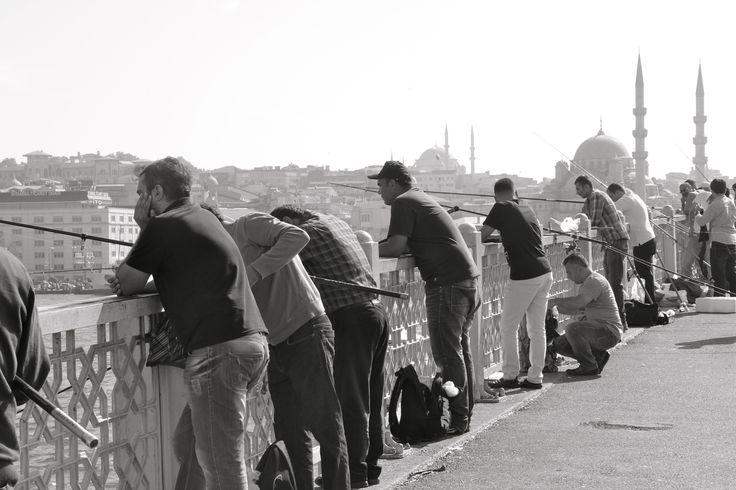 Fishermen on the Galatabridge  Istanbul, Turkey, black and white, photography