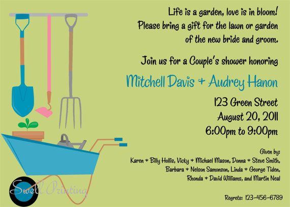 Lawn and Garden Shower Invitation Couple Shower by SwellPrinting, $15.00
