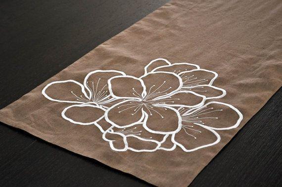LOVE this Hibiscus Table Runner 14 x 64 Medium Brown Linen by KainKain, $30.00