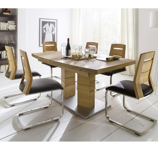 cuneo extendable solid wooden dining table bianco boat shape 6 chairs furniture diningroom - Wooden Dining Room Chairs