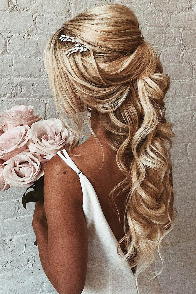 45 Perfect Half Up Half Down Wedding Hairstyles Wedding Forward Hair Vine Wedding Wedding Hair Half Wedding Hair Down
