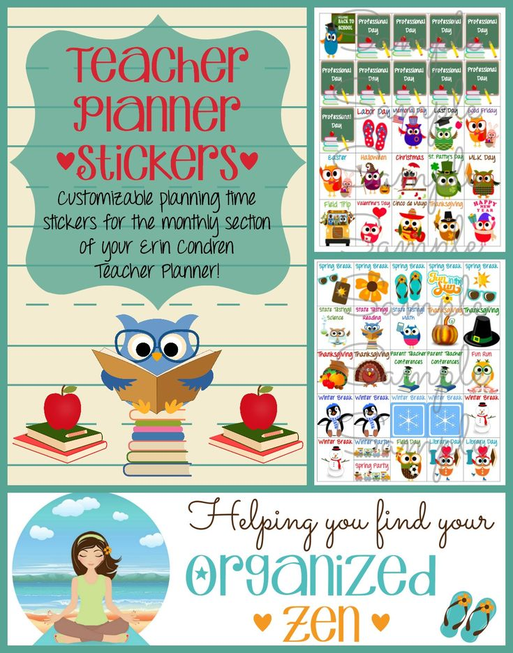 Digital File: Customized ECTP Teacher Stickers for the Monthly Pages by OrganizedZen on Etsy
