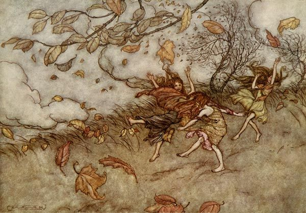 A Fallen Lead, by Arthur Rackham  There is almost nothing that has  such a keen sense of fun as a fallen leaf