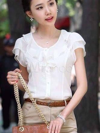 Resultado de imagen para blusas de chifon elegantes