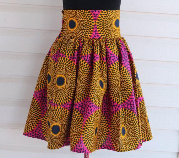 Jupe africaine genou Longueur jupe grande taille taille large bande cire africaine impression tissu africain volants jupe faites sur commande, Illusion d'optique