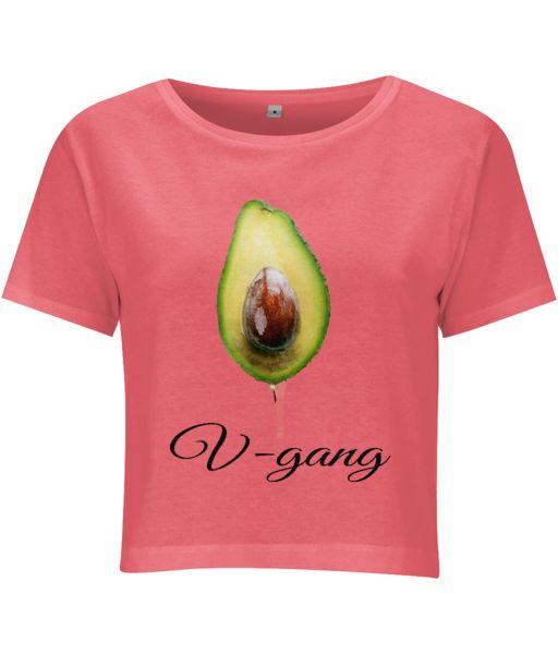 V-gang Cropped Jersey T-shirt