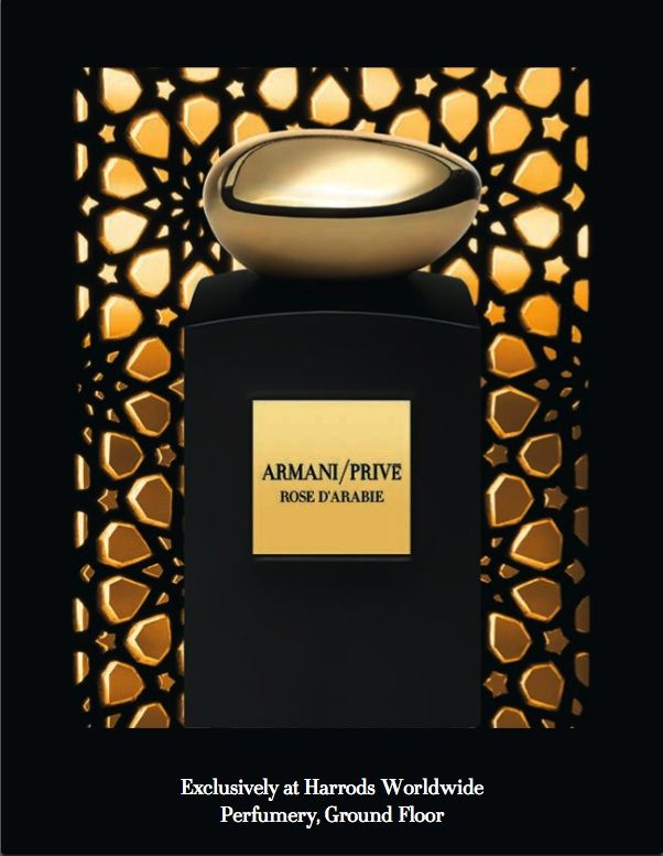 Rose d'Arabie, Armani Privé. Notes: vanilla, patchouli, rose, oud (agarwood).