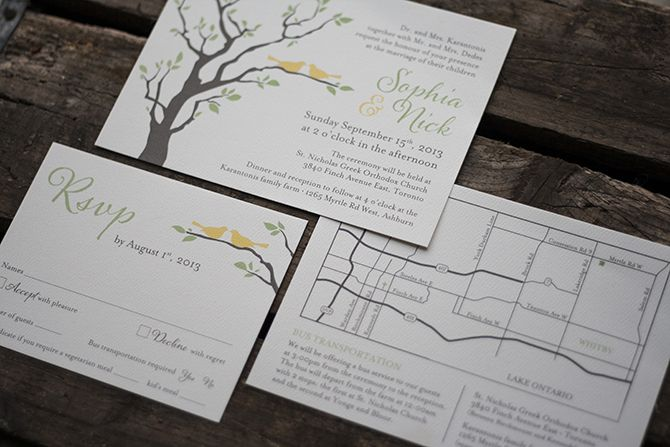 love birds in a tree wedding invitation, rsvp and map.  http://www.laurak.ca/invitations/blog/2014/01/sophia-and-nicks-farm-wedding/